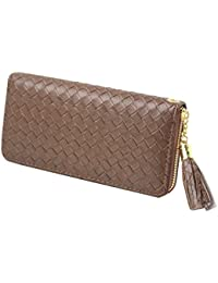 Women'S Woven Leather Card Wallets, Card Holder Clutch Purse With Zipper (Brown) By My Jawdropper