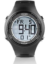 EZON L008A11 Montres de sport décontractées pour hommes et hommes avec alarme Chronomètre Compte à rebours Calendrier de 50 ans Montre de montre imperméable à l'eau