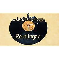 Wanduhr Uhr Skyline Reutlingen Silhouette Chronometer aus original Vinyl Schallplatte Upcycling Design Uhr Wand-Deko Wand-Dekoration