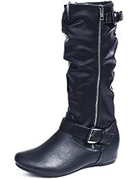 AgeeMi Shoes Damen Langschaft Stiefel Reißverschluss Runde Flache Stiefel