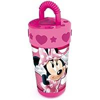 Disney 736531 - Minnie Bicchiere con Cannuccia e Coperchio 3D - 400 Ml - 14 cm
