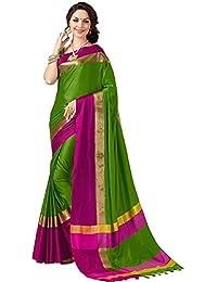 Welcome Fashion Cotton Silk Saree (Green&Pink 3081_Multi-Coloured_Free Size)