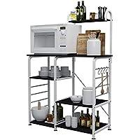 DlandHome 90CM Carrello per microonde Stoccaggio Utility da Cucina 3-Tier + 4-Tier Portaspezie Organizzatore Mensola della Stazione di Lavoro, Black