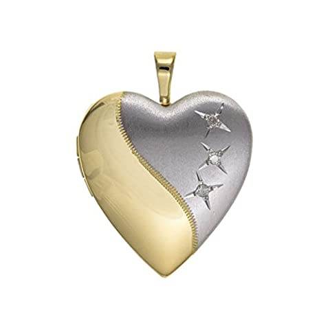 20MM Two-Tone (Half-Satin Silver & Half-Gold Plated) 3-Stone Diamond Set Sterling Silver Heart Locket On 18