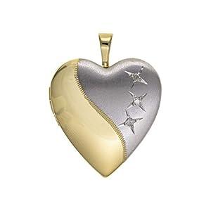 Halskette mit Herz-Medaillon Sterlingsilber (Half-Satin Silber & Halbvergoldet) 3 Steine Diamantfassung Sterling-Silber 925 46 cm