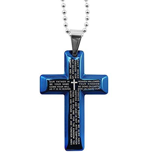 COM-FOUR® Kreuzanhänger in blau aus Edelstahl mit Kette aufgedrucktem Gebet