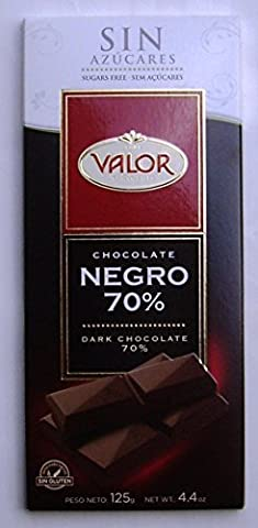 VALOR SUGAR FREE 70% DARK Chocolate - 125gr - 6 x bars