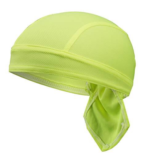 GWELL Unisex Bandana Cap Atmungsaktiv Piraten Kopftuch Bikertuch UV Schutz Fahrrad Erwachsene Radsport Einfarbig Gelb