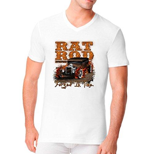 Hot Rod Männer V-Neck Shirt - Hot Rod Motiv, Rat Rod Motorworks by Im-Shirt Weiß