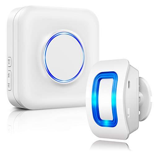 BITIWEND Sirène Détecteurs de Mouvement Infrarouge-Sensor Alarme sans Fil, 1 Capteur et 1 Récepteur Batterie Chargée, PIR Capteur avec LED Bleue pour la Famille, l'entreprise, et Le Garage
