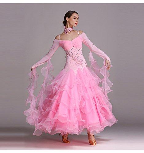 ZTXY Modern Lady Big Pendel Modern Dance Dress Mit Armband Tango Und Walzer Tanz Kleid Tanzwettbewerb Rock Langen Ärmeln Strass Dancing Kostüm,Pink,M