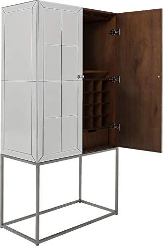 Kare Design Barschrank Luxury, , edler Barschrank in verspiegelter Optik und eckigem Gestell aus Stahl, auch in Champagner Farben erhältlich (H/B/T) 181x89x47cm