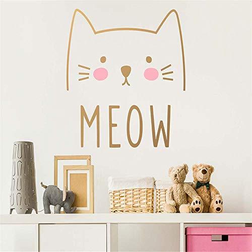 Wandtattoo Vinyl Nette Katze Meow Aufkleber Für Kinder Mädchen Raumdekoration Kindergarten Removable Decor Haus Schlafzimmer Kunst Design 57 * 53 cm