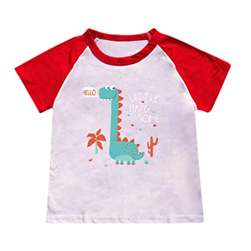 JUTOO Kinderbaby-Karikatur-heiße Art-Dinosaurier-Muster-Buchstabe-Druck-T-Shirt, das Hemd übersteigt (rot ()