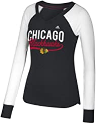 "Chicago Blackhawks Women's Adidas NHL ""Puck Drop"" Dual Blend Long Sleeve T-Shirt Chemise"