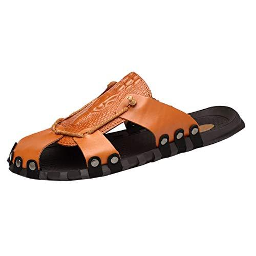 AIni Herren Schuhe,Mode 2019 Neuer Heißer Beiläufiges Aushöhlen Leder Strand Atmungsaktivee Flache Schuhe Hausschuhe Schuhe Partyschuhe Strand Freizeitschuhe(42,Braun)