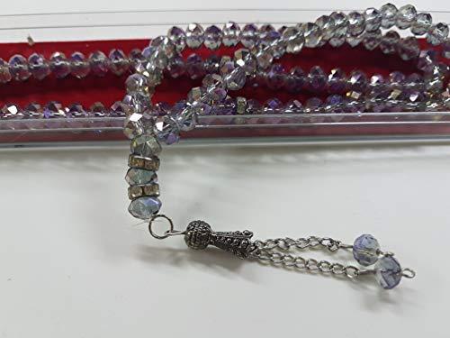 Kristall Luxus Gebetskette(MK), Tesbih, Misbaha Kristall 99 Lila