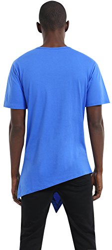 Pizoff Unisex Hip Hop Basic Langärmliges Langes Jersey Sweat T-Shirt Rund Saum P3118-blue