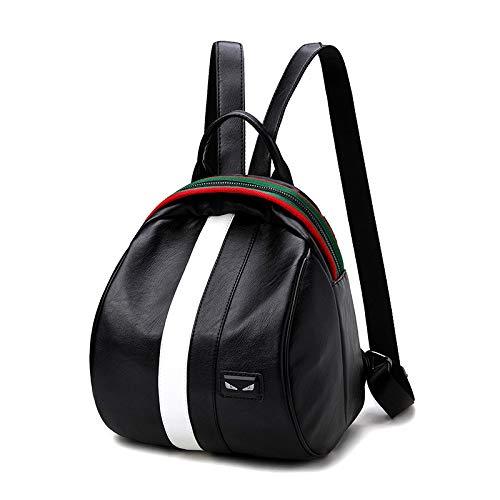 Bedolio Rucksack Fashion Ribbon Striped Damentasche Travel Tote, Weiß schwarz