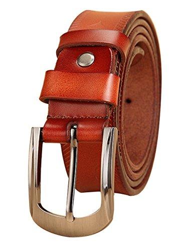 Womens Buff Leather Belt Center Bar Buckle Waist Strap 2.8cm 004Brown