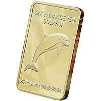 xinzhi Barre de Lingot d'or pièce de Monnaie commémorative de Dauphin en Alliage de Zinc Art Collection Film