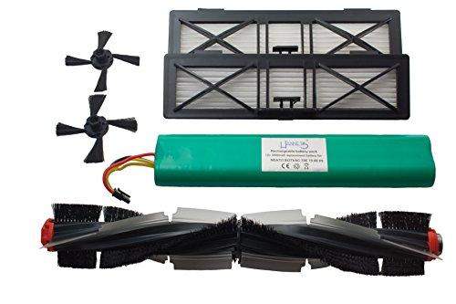 Hannets NBV-1RB-2UF-2SB - Batería de repuesto para robot aspirador Neato Botvac, con batería, cepillos...