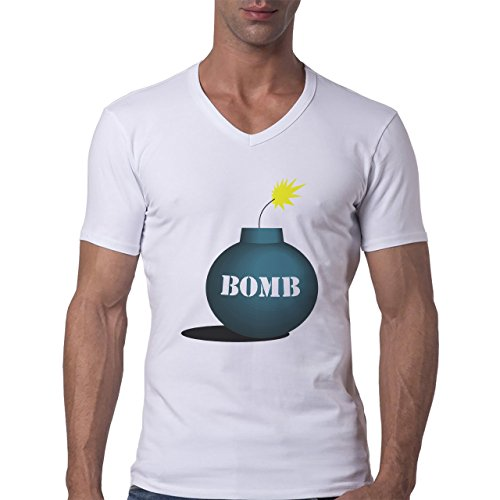 Bomb Atom Boom Fire Explossion Herren V-Neck T-Shirt Weiß