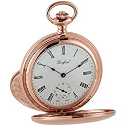 Large Rose Gold Pocket Watch - by Woodford (Est.1860) 17 Jewel Mechanical Movement