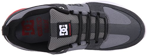 DC Lynx Lite Skate Shoe, Black/Black/White, 11 M US Grey/Red/White
