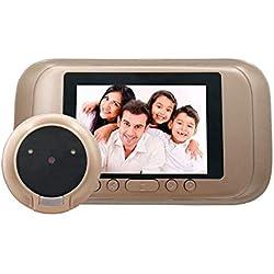 """Judas électrique numérique Vidéo vision de porte Caméra de sécurité 720P HD Écran 3.5"""" Fonctionnant sur batterie Doorcam avec Night Vision, Détection de mouvement"""