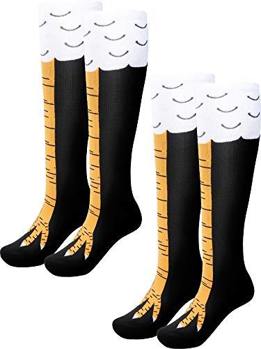 2 Paar Lustige Hühnerbein Socken kniehohe Geschenk Socken Cartoon Hühnerfüße Socken für Thanksgiving-Kostüm (Farbe Satz - Paar Socken Kostüm