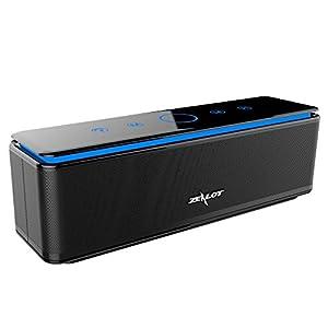 ZEALOT S7 Enceinte Bluetooth Portable Batterie Externe 10000mAh 26W 4 Haut-Parleurs 24 Heures d'Autonomie Subwoofer Basses Puissantes Contrôle Tactile AUX/Micro Carte SD/TF/Microphone-Noir de ZEALOT