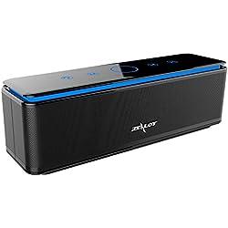 ZEALOT S7 Enceinte Bluetooth Portable Batterie Externe 10000mAh 26W 4 Haut-Parleurs 24 Heures d'Autonomie Subwoofer Basses Puissantes Contrôle Tactile AUX/Micro Carte SD/TF/Microphone-Noir