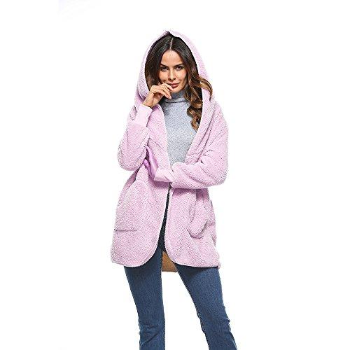 Vertvie Femme Cardigan Manteau à Capuche Fausse Fourrure Doux Veste Ouvert Polaire Chaud Parka Outwear Casual Automne Hiver Rose