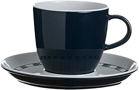 MB Coastal Designs Columbus Nautical Shatter Proof Tea Cup and Saucer Set, Navy Blue/White, Set of 6 by MB Coastal Designs