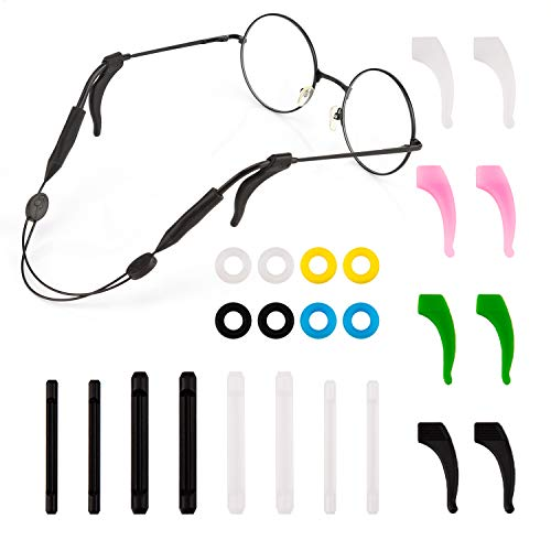 LUTER 13 Paare Soft Kleine/Mittlere/Große Silikon Gläser Ohrhaken Brillen anti-rutsch-halter mit Brille String Strap für Kinder & Erwachsene