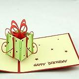 BC Worldwide Ltd fait main 3D pop up carte d'anniversaire vert boite rouge arc étoile vintage élégant laser coupé papercraft origami gife bureau ornement amour amitié