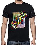 latostadora - Camiseta Juegos - Cubo Rubik para Hombre Negro 3XL