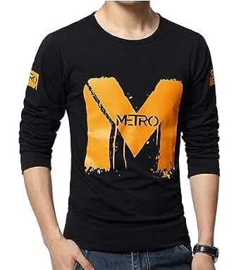 EYEBOGLER Men's Round Neck Cotton Metro T-shirt (Black, X-Small)
