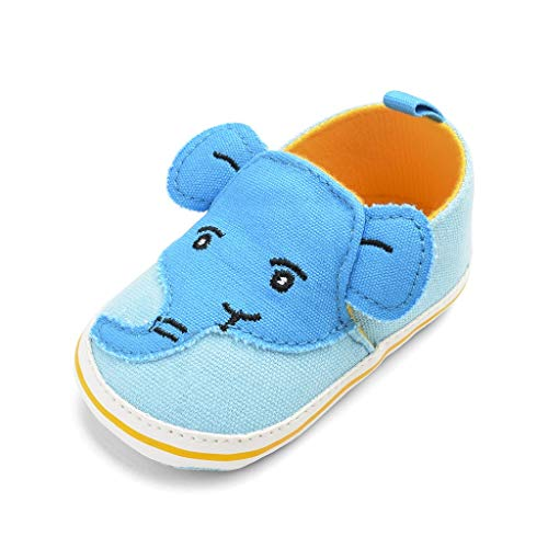 0-18Months,SO-buts Newborn Baby Boys Elephant Cartoon Anti-Slip First Walkers Soft Sole Single Canvas Flat Shoes