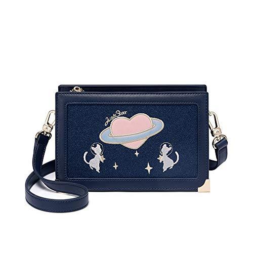 Gestickte Messenger Tasche (JKLP Mode Umhängetasche Messenger Bag koreanische Version Gestickte kleine quadratische Tasche Box)