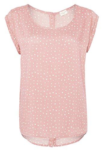 Fresh Made Blusenshirt mit Allover Herzchen-Print | Kurzarm Bluse Aus Leichter Viskose Light-Rose S (Print-bluse Leichte)