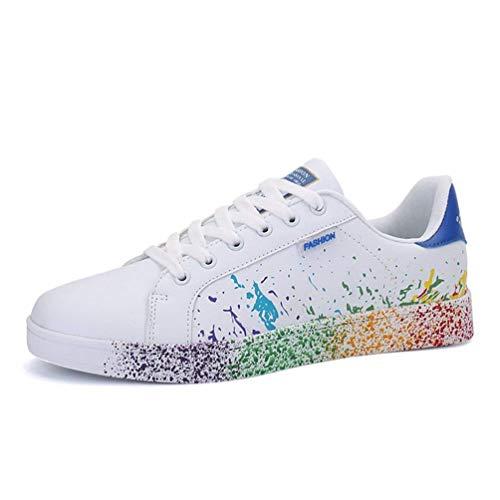 Herren Laufschuhe Atmungsaktive Wanderschuhe Regenbogen Farbe Unisex Outdoor Sports Weiche Flache Schuhe (Farbe : Blau, Größe : 6.5UK=40EU)