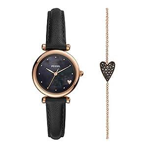 Fossil Damen Analog Quarz Uhr mit Leder Armband ES4506SET