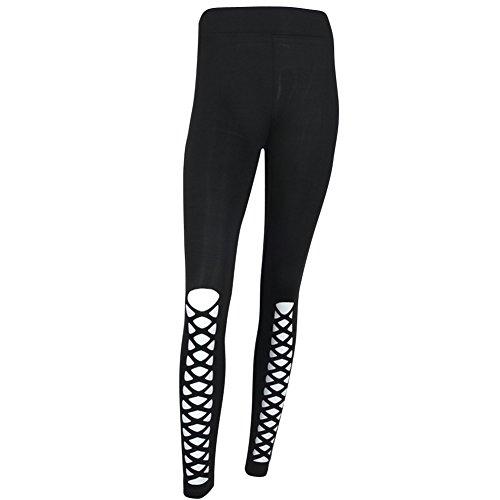 Leggings Donna Sportivi Pantaloni Lunghi Fitness Yoga Ginnastica Pantaloni Fitness Nero
