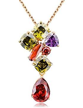 FLORAY Weihnachtsgeschenk für Frauen Wassertropfen Mehrfarbige Kristall Anhänger Halskette Modeschmuck
