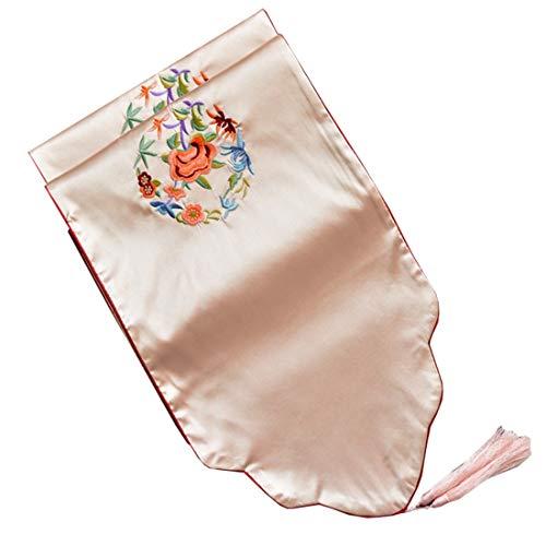 ter - Reine Farbe geknoteter Fransentischläufer - 33 x 200 cm - Rot, Grün, Lila, Weiß - Einzigartiger handgeknüpfter dekorativer Fransen (Color : White) ()