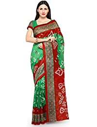 Ishin Bhagalpuri Art Silk Green & Red Bollywood Printed Bandhej Women's Saree