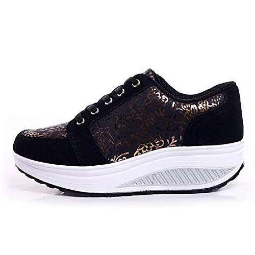Qianle Women's Ladies Stylish Lace Up Sport Casual Wedge Sneakers Trainers Shoes...