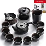 Schwarze Keramik Kung Fu Tee-Set Home Moderne Büro Teekanne Teetasse Keramik-Set,Teezeremonie Sechs Herren Teelöffel Tee Dosen Nadeln Clips Lecks